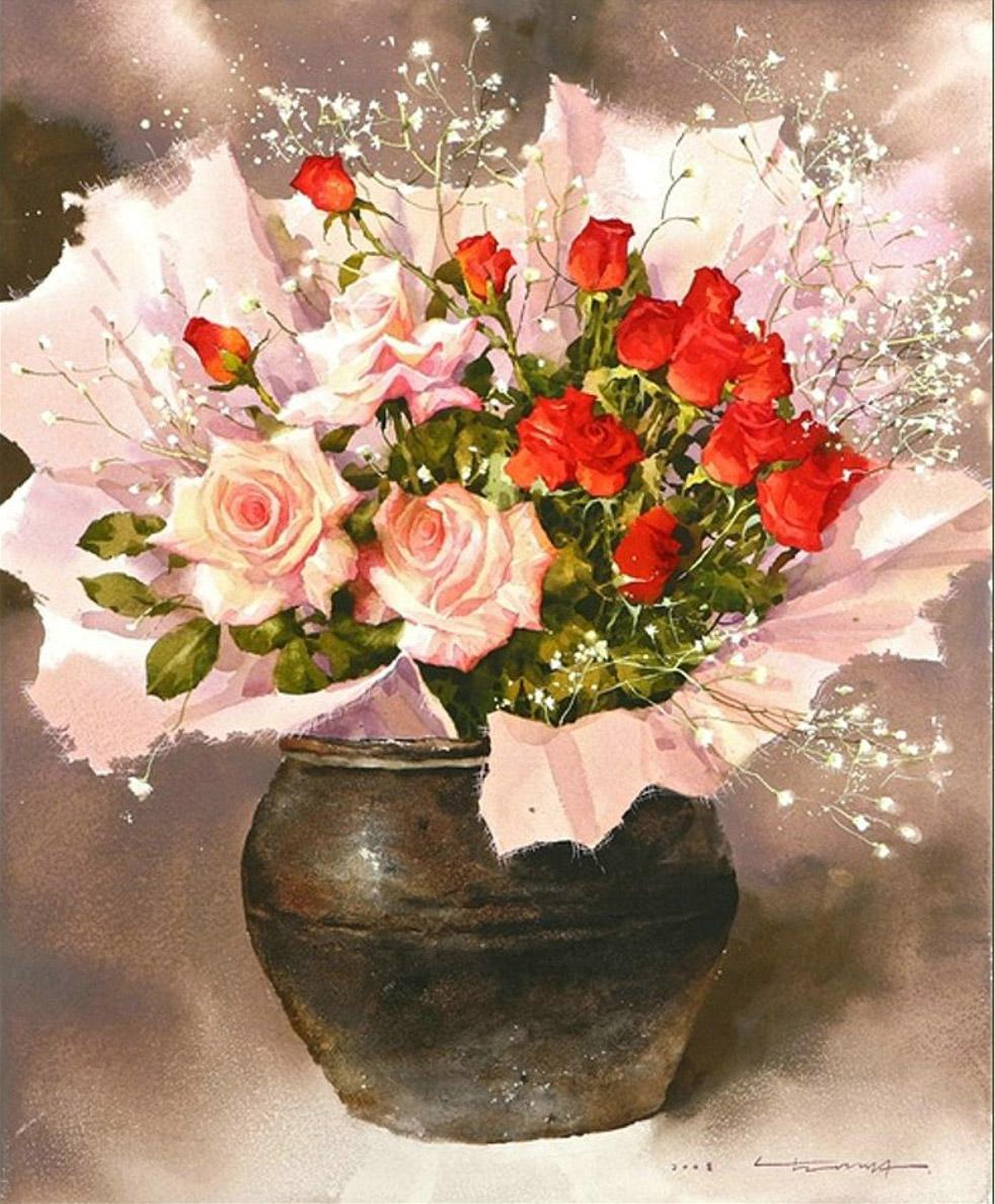 韩国画家水彩画花卉作品